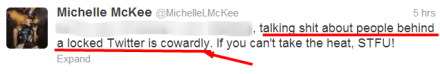 IS MICHELLE L MCKEE GOING TO CALL THIS WOMAN A COWARD?